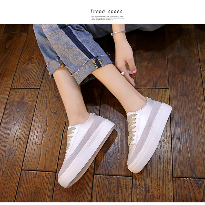 XWWDVV Spain niche shoes casual versatile canvas shoes new thick bottom flat white shoes women 50