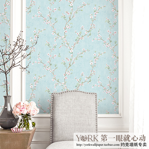 American imported wallpaper Chinese pastoral wallpaper plum flower art living room bedroom TV background wall