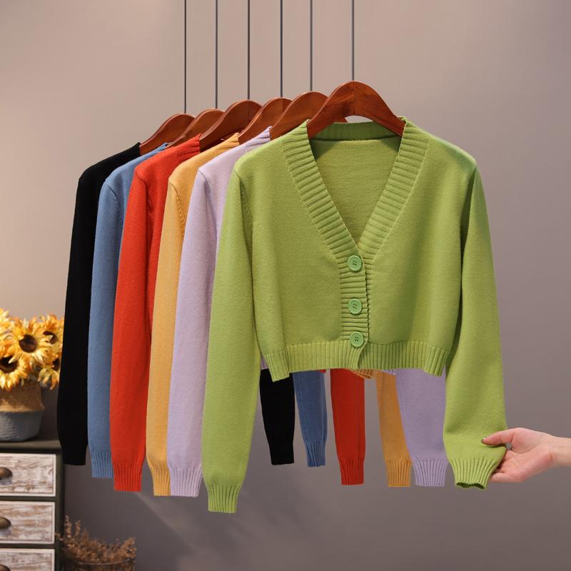 高腰毛衣绿色女2020春秋短款V领针织衫外搭韩版薄款外套小款开衫