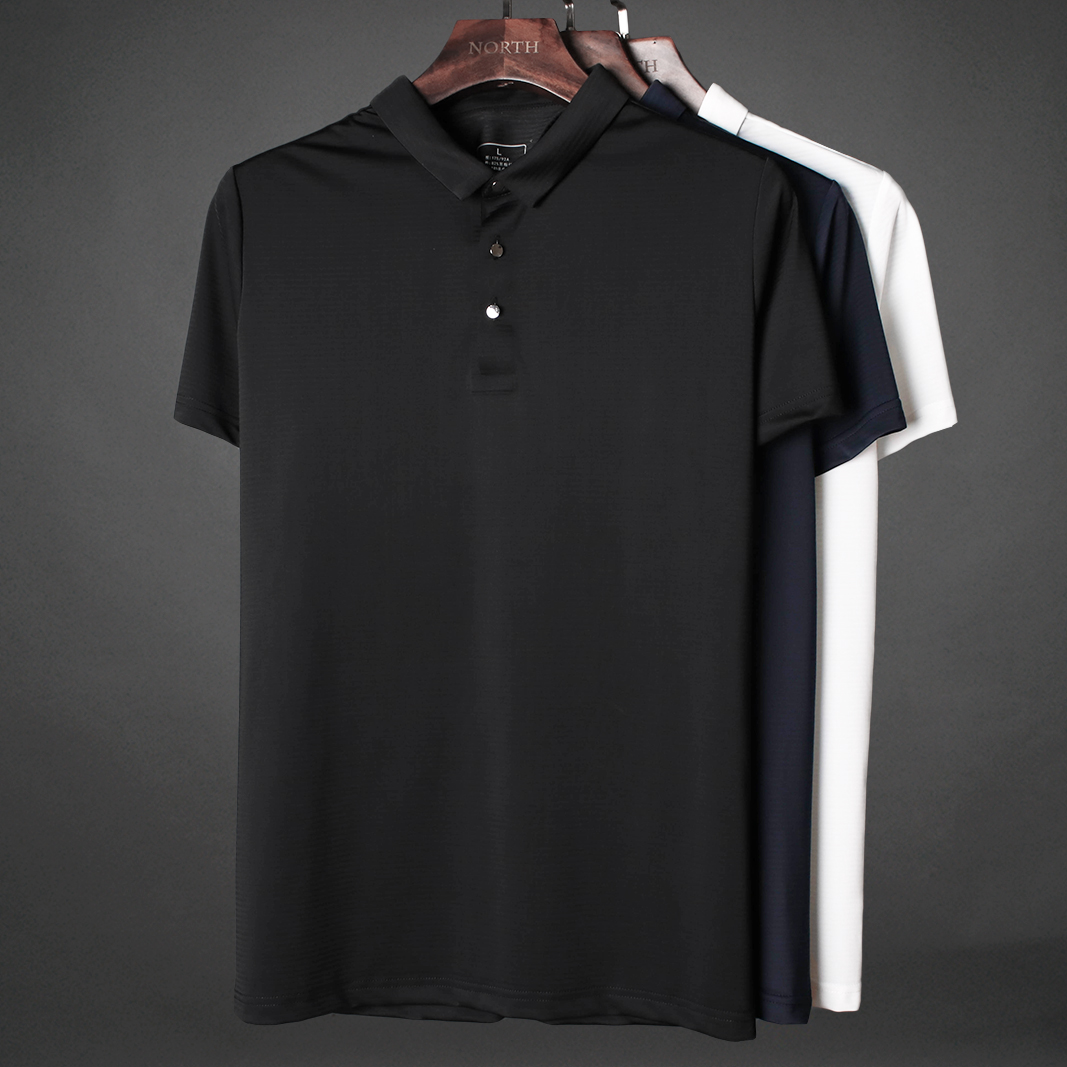 9d91b05524ae For the summer of ice silk drape fabric smooth summer polo shirt men s short -sleeved lapel business casual half-sleeved