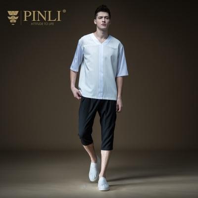 PINLI品立PLUS夏季新款男装宽松条纹V领短袖T恤潮B192311311