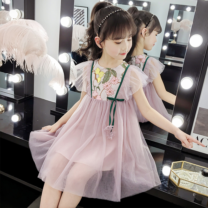 Girls dress summer 2019 New children's summer mesh children's clothing skirt girl Korean version of the princess dress