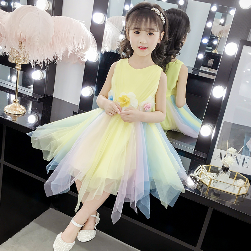 Girls dress summer 2019 new style children summer princess skirt girl rainbow skirt fashionable children's clothing