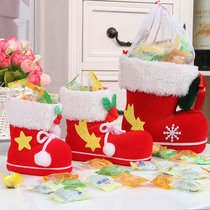 Christmas decorations Creative candy bag red boots Christmas gift Desktop