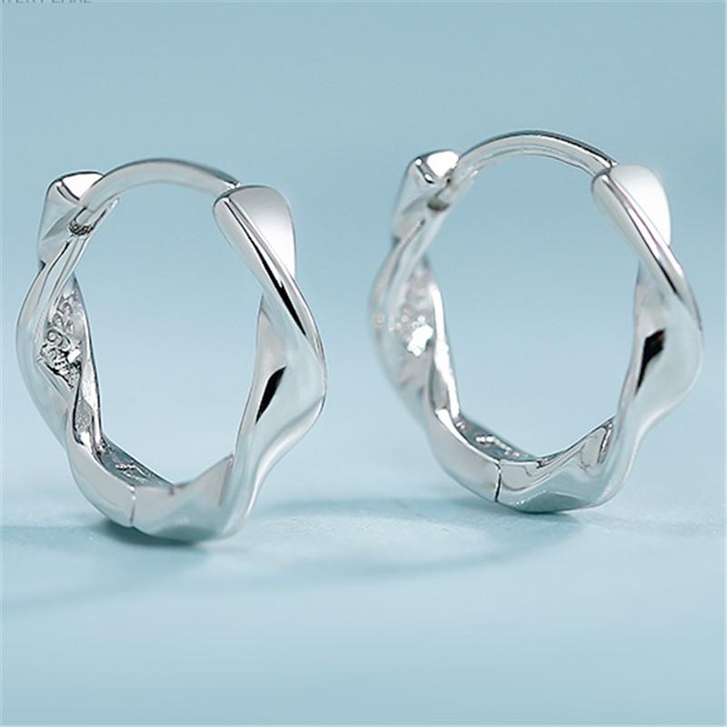 银耳环女纯银耳扣简约情侣耳圈