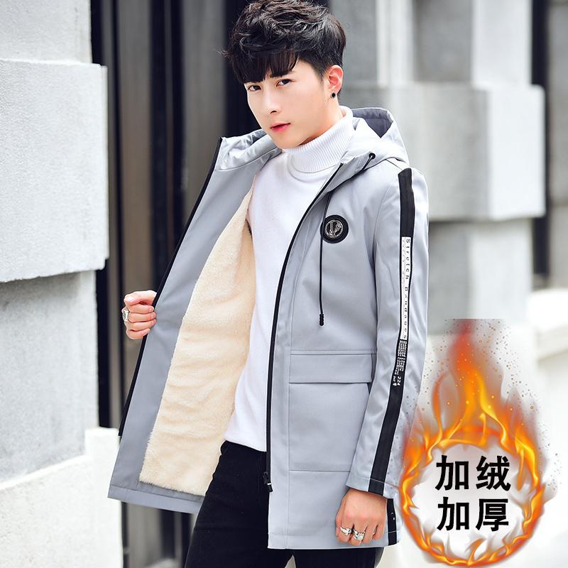 男外套韩版帅气加绒加厚夹克大衣