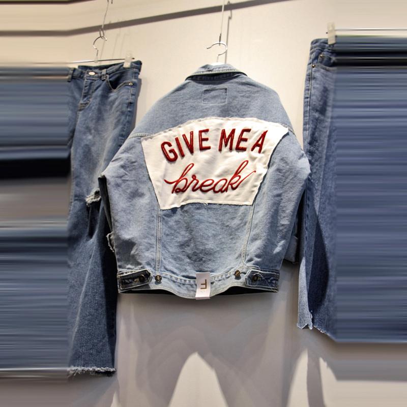 2019春季女装新品字母翻领贴布牛仔长袖外套夹克宽松上衣