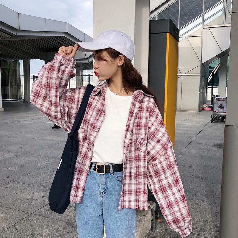 灯笼袖格子条纹衬衫女长袖春季新款韩版bf风宽松学生衬衣外套24_淘宝优惠券