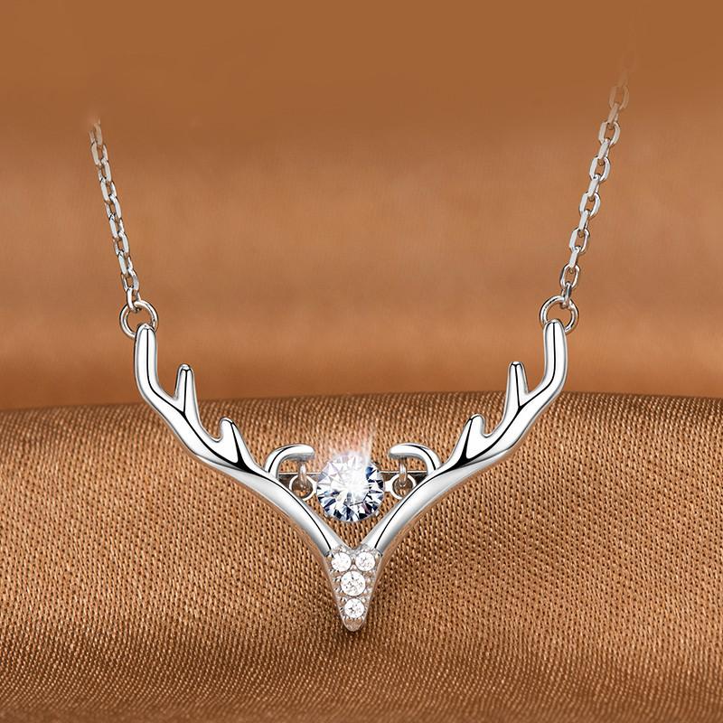 Mymiss一鹿有你银项链女跳动的心锁骨链送女友浪漫礼盒情人节礼物