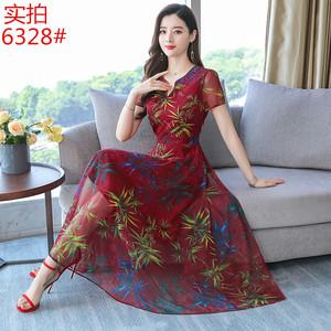 網紗連衣裙2019新款夏韓版時尚長款修身顯瘦氣質裙子