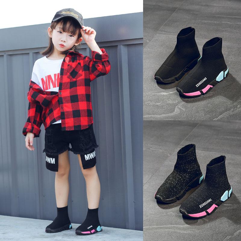 2018秋季新款儿童鞋男童高帮防滑针织鞋女童弹力袜子鞋休闲运动鞋