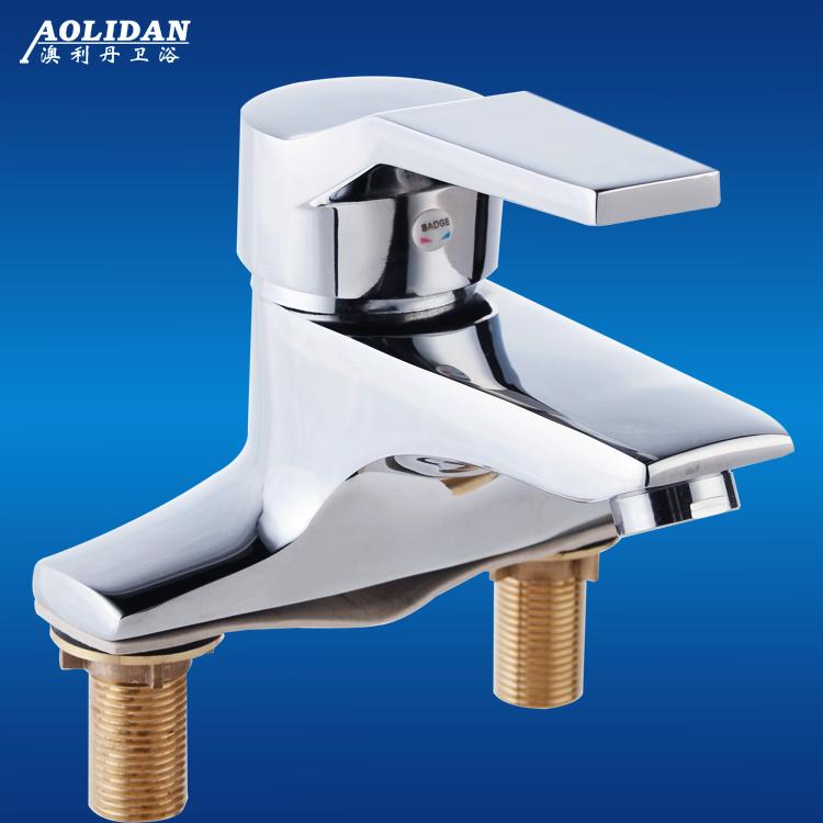 澳利丹全铜双孔水龙头单把二联冷热台下面盆混水阀洗手脸三孔水嘴
