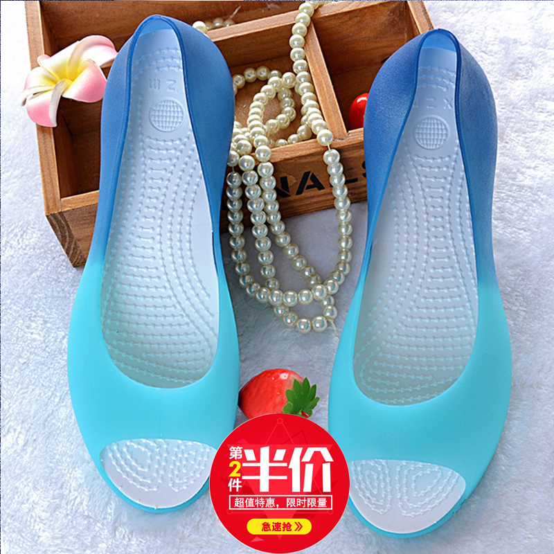 2019新款凉鞋女夏水晶塑料鱼嘴果冻鞋百搭平底坡跟防滑洞洞沙滩鞋
