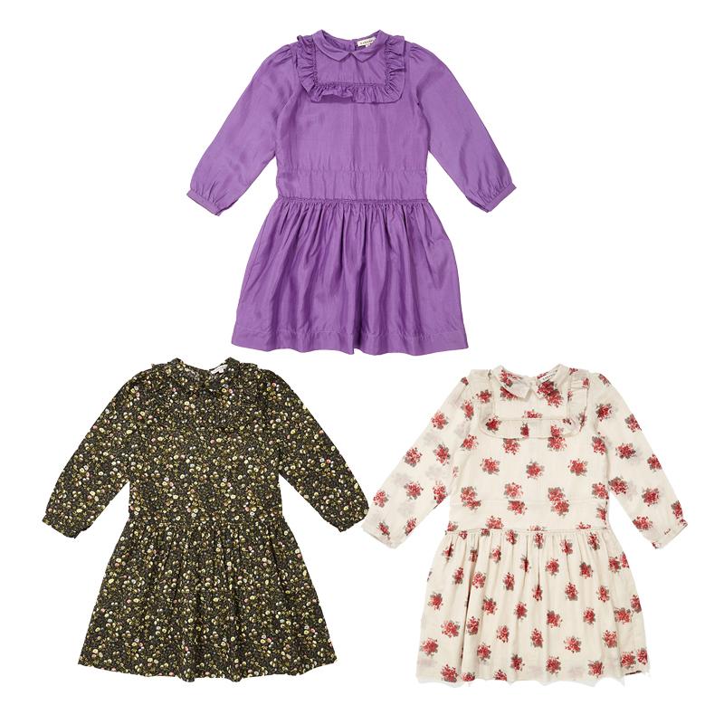 萝拉宝贝现货 英国 caramel CBC 19秋冬女童复古时尚荷叶边桔梗裙