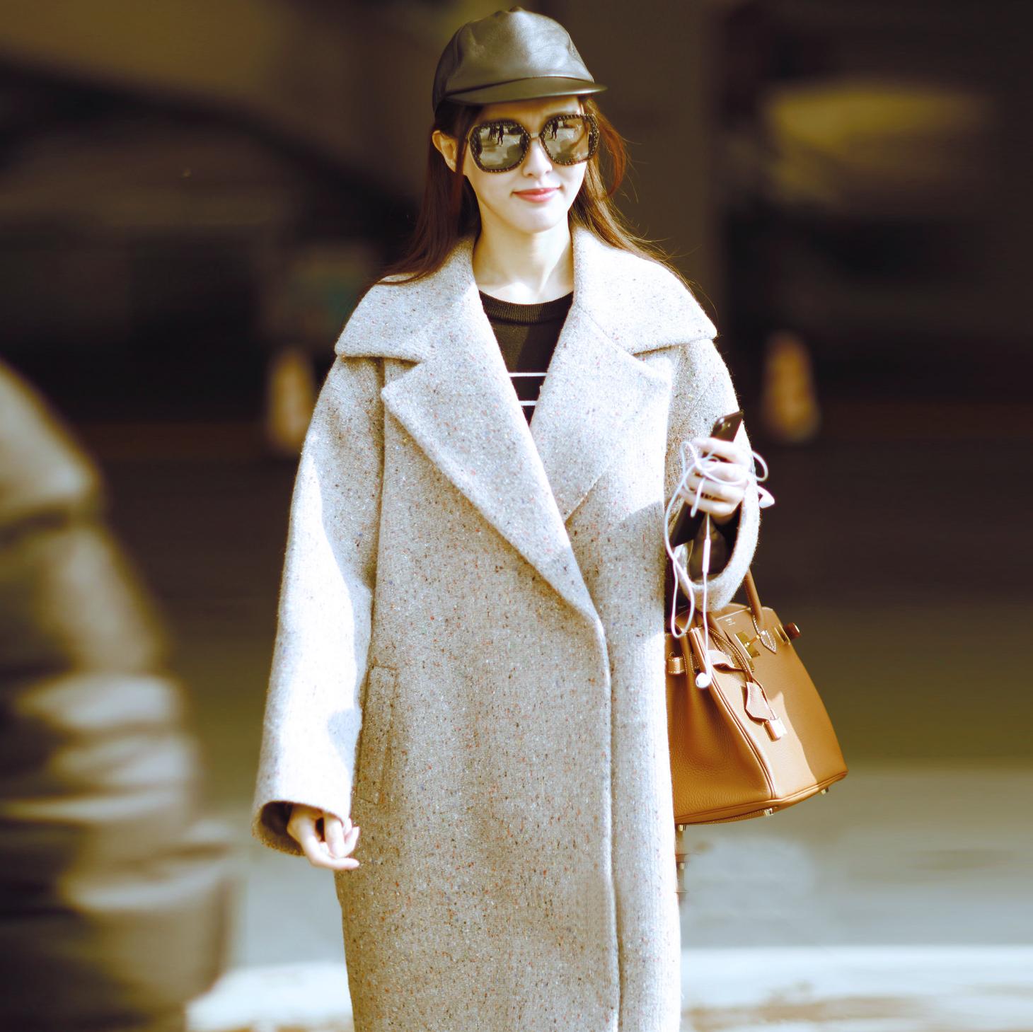 星唐嫣同款毛呢呢子大衣中长款外套外套茧型宽松加厚羊毛女夹棉厚