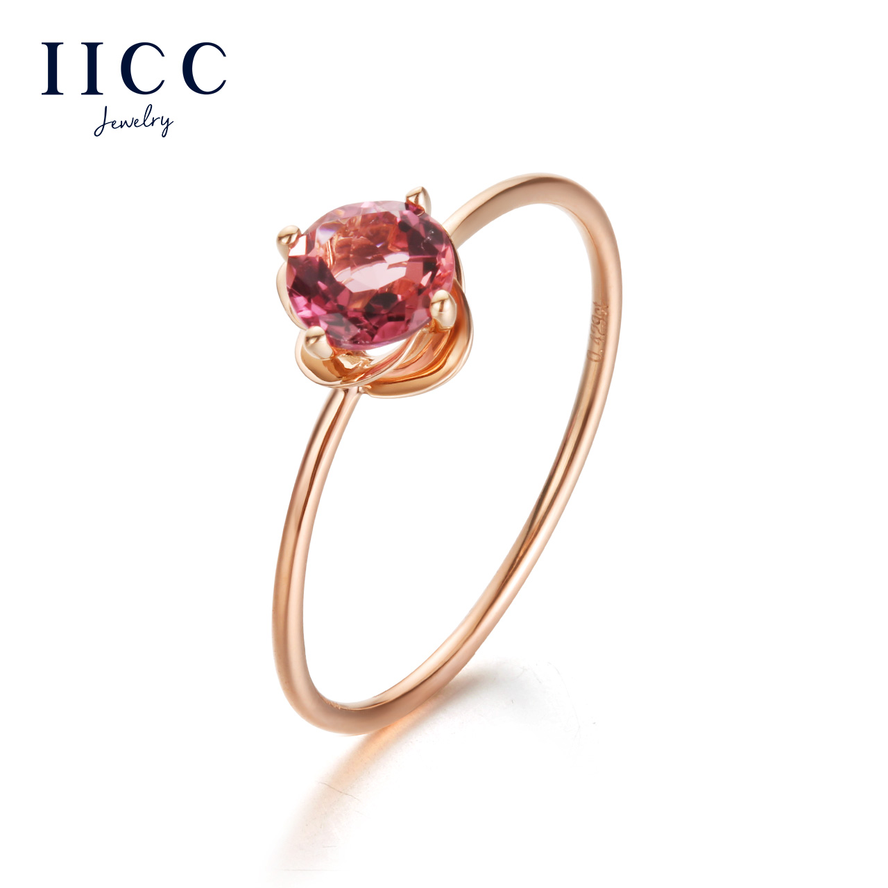 18K Gold Red Tourmaline Ring Rose Color Gemstone Birthday Valentines Day Gift To His Girlfriend