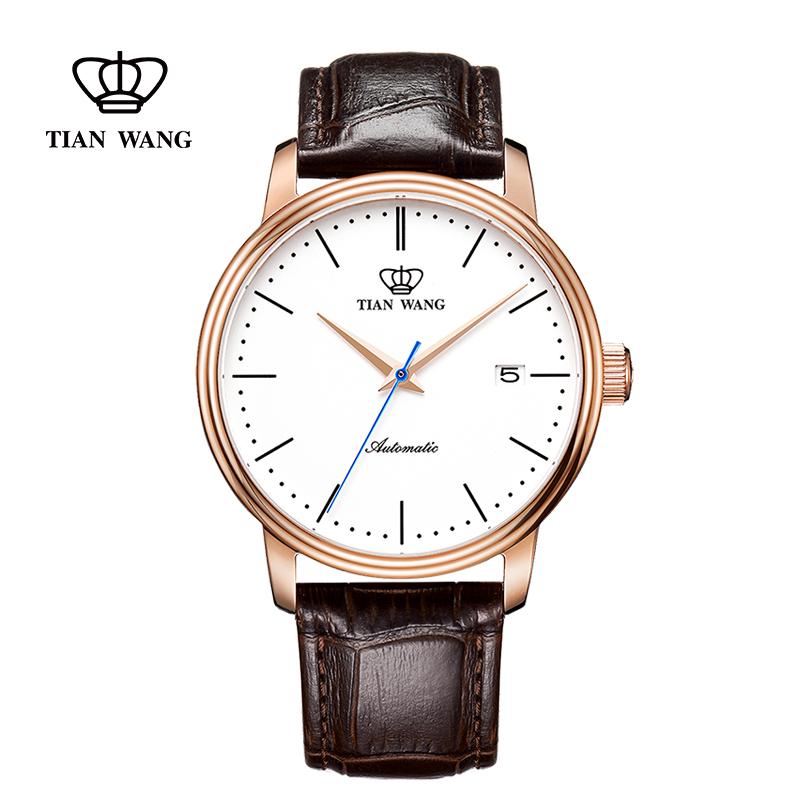 天王表男士皮帶自動機械手表時尚休閑防水5914