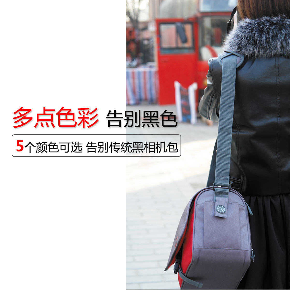 Nuanxingjiafang New Micro Single Camera Bag SLR Shoulder Mobile Camera Bag Nylon Material Digital Accessories Storage Bag Outdoor Leisure Bag Size 9 12.515.5cm Gray Package Well-Made