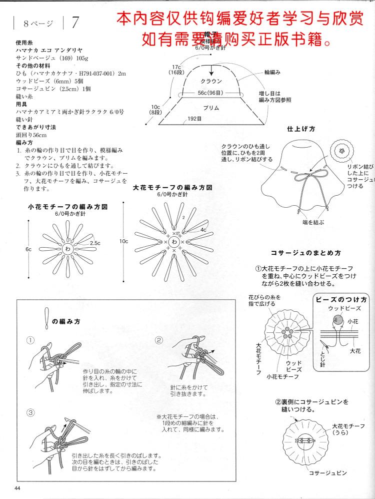【引用】棉草拉菲 DR15-4森女款夏日清凉帽 - 壹一 - 壹一编织博客