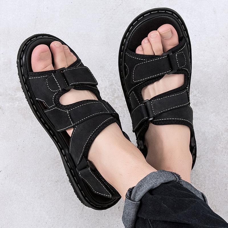 2019新款夏季真皮凉鞋男鞋运动沙滩鞋凉拖鞋休闲鞋潮越南软底两用