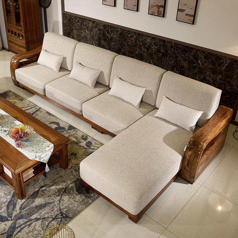 All solid wood sofa combination of modern Chinese import the entire living  room sofa Ugyen wood furniture corner sofa chaise