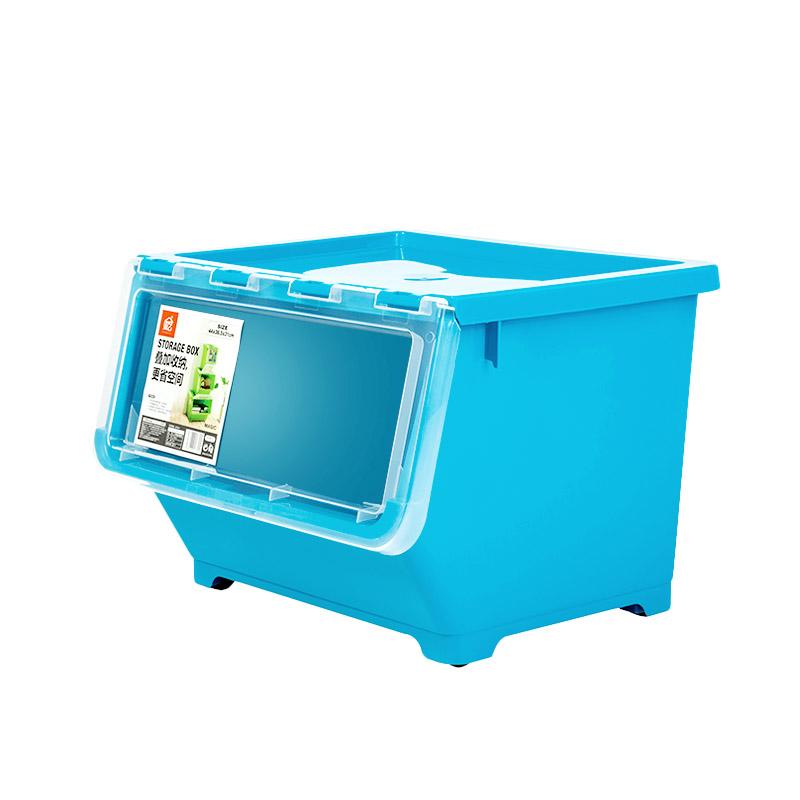 翻盖前侧开式儿童玩具收纳箱塑料特大号透明储物架整理箱盒子