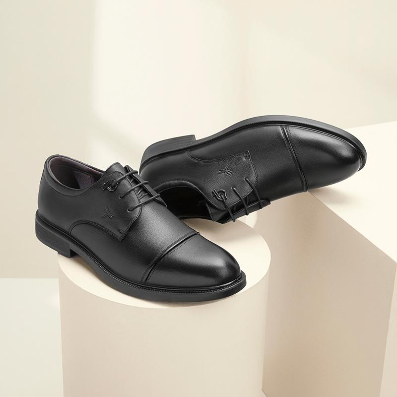 红蜻蜓男鞋2021新款男士真皮商务正装皮鞋男结婚鞋英伦休闲黑皮鞋