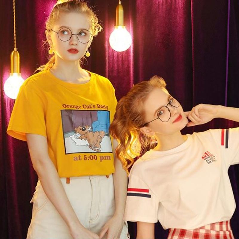 短袖T恤女夏2020年新款宽松韩版半袖学生怪味上衣设计感小众T桖潮