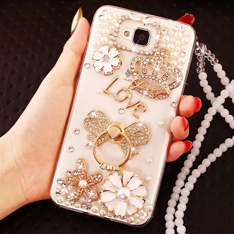 huawei glory 3c mobile phone shell h30t00 protective cover t10/u10 crystal diamond u00 with lanyard l01 transparent soft