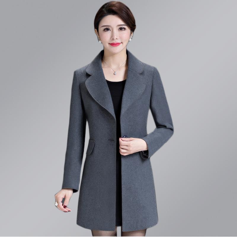 无双面短款羊绒女中大衣年中老年妈妈西服羊毛外套小个子中款呢子