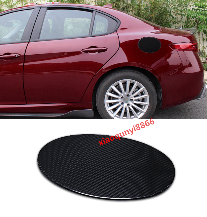 Real Carbon Fiber Fuel Tank Cap Gas Oil Box Cover For Alfa