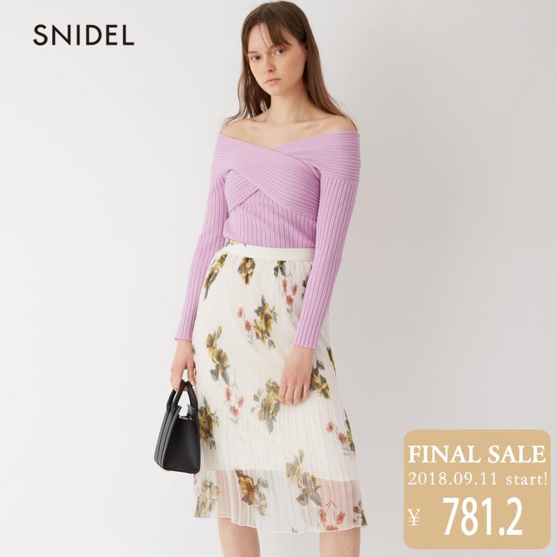 SNIDEL2018新品 甜美百褶印花半身裙SWFS181168