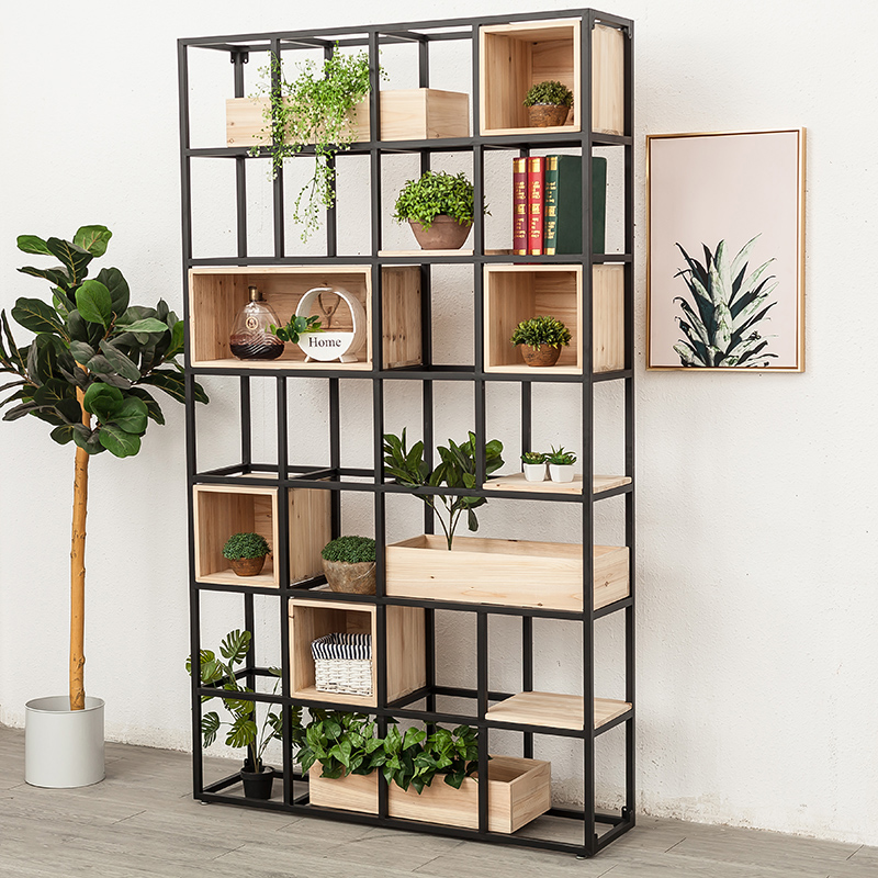 Wrought iron floor screen solid wood porch frame partition office partition decorative shelf living room modern minimalist bookshelf