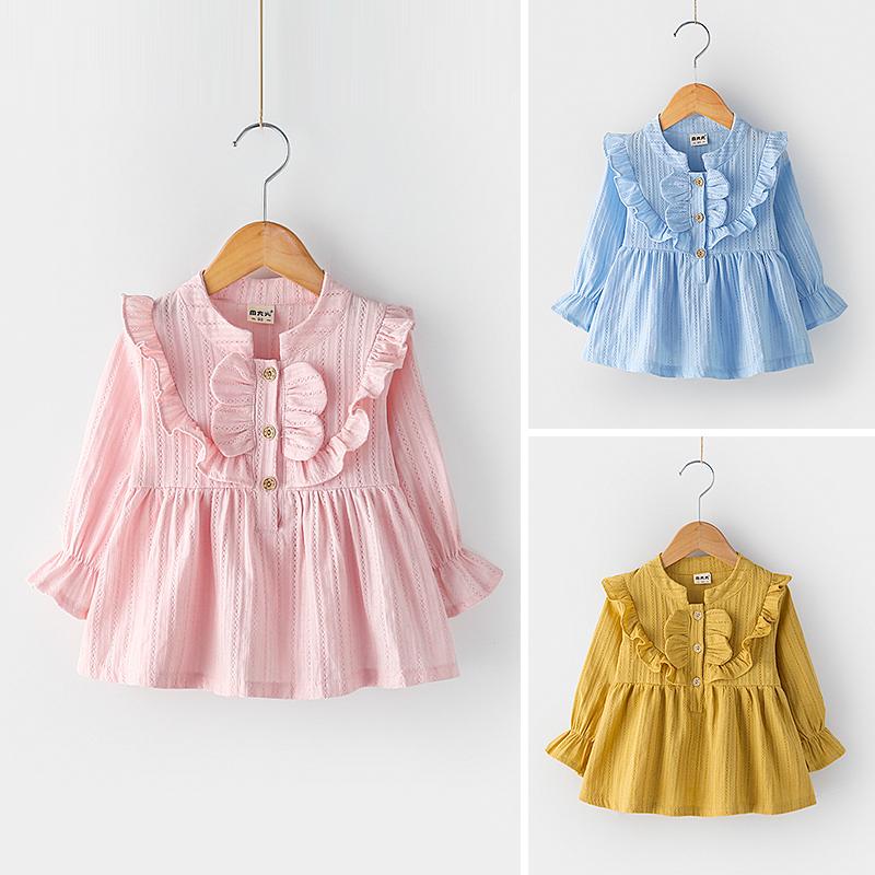На девочку Осенняя одежда длинный рукав верх Одежда 2018 новая коллекция женщина детские Деревянное ухо стоячий воротник рубашка Кукла рубашка детские пуловер