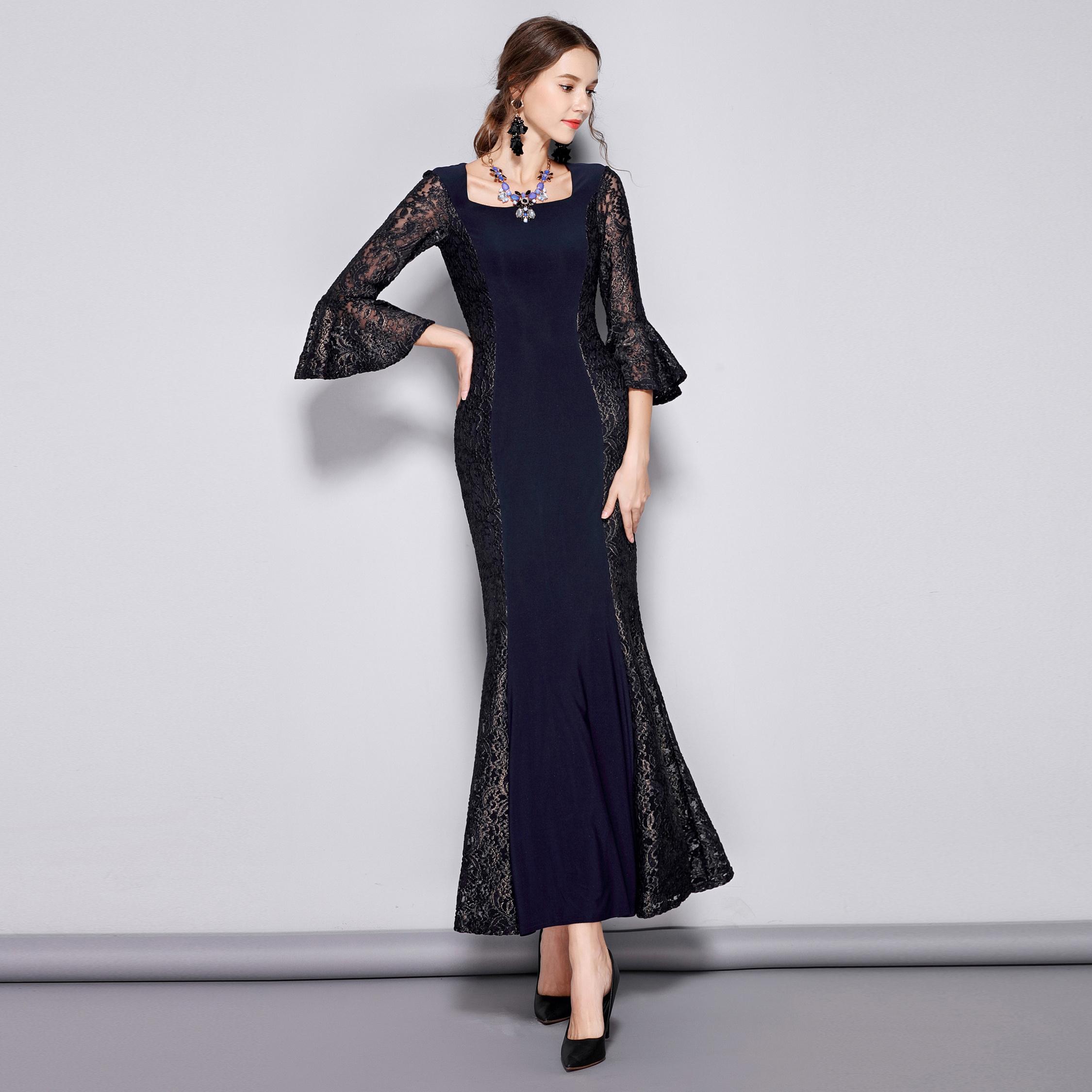 RL优雅蕾丝拼接鱼尾摆修身显瘦超长礼服连衣裙约会主持大码 C761