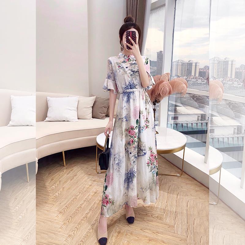 汉服女中国风夏装长裙子女装2019新款长款复古印花有气质的连衣裙