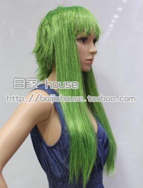 taobao agent Cosplay Wig Vocaloid Gumi-Megpoid High Temperature Silk Smoked Green Long Sideburns