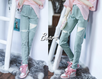 taobao agent ◆Bears◆BJD baby clothes A325 bean paste green hole elastic denim trousers 1/4&1/3&Uncle