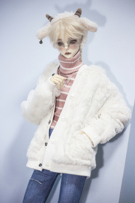 taobao agent ◆Bears◆BJD baby clothes A303 Super cute white fur hooded cardigan 1/4&1/3&Uncle