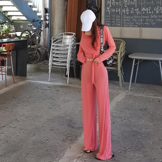 长袖修身小正品夏装开衫阔腿裤性感2019吊带新款韩国代购套装女