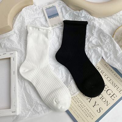 白色袜子女中筒袜ins潮夏季薄款日系可爱长筒黑色长袜纯棉卷边袜