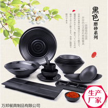 Black Imitation porcelain Melamine custom restaurant hotel Hot Pot Shop Dedicated