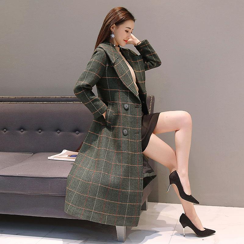长款大衣外套女格子2019新款韩版收腰毛呢冬装过膝薄款大衣呢子潮