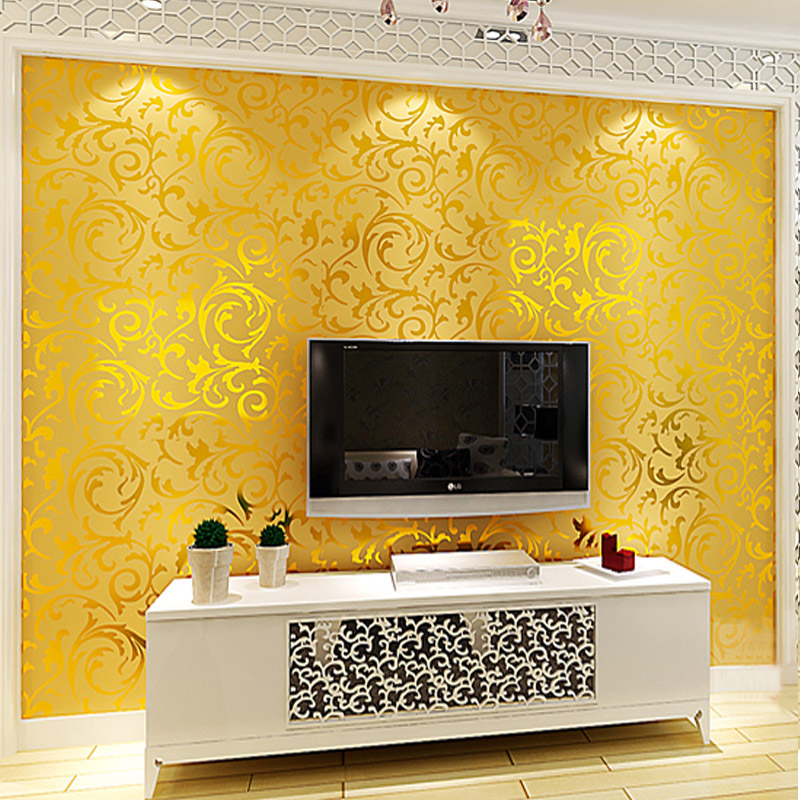Luxury European 3D Three Dimensional Gold Foil Wallpaper Living Room TV Background Wall Engineering Ceiling