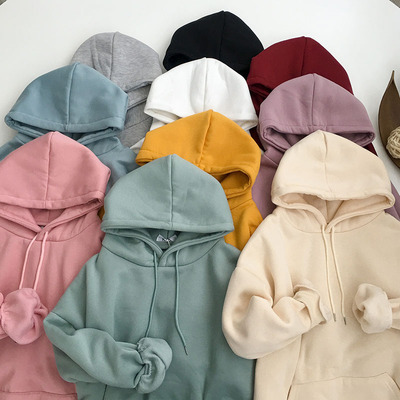 taobao agent Ins autumn/winter jacket 2021 new autumn women's clothing Korean style Hong Kong style plus velvet thick loose tide hooded sweater women