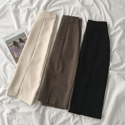 taobao agent High-waist A-line skirt summer 2021 new women's Korean version of the student wild split hip long skirt trend