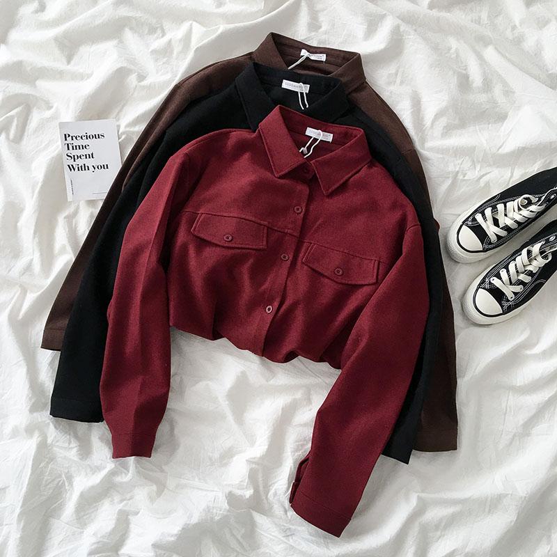 Дизайн смысл небольшой многие ретро дикий рубашка осенью и зимой 2019 метров женщины корейский популярный свободный куртка волна 608755154990