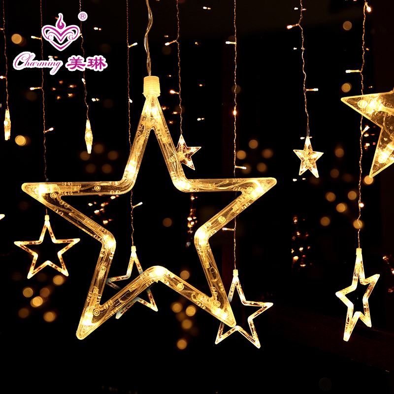 Holiday star lights led curtain lights string lights flashing stars bedroom  ins girl heart room layout marriage proposal decoration