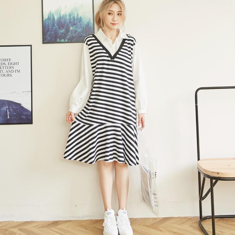 中长款条纹拼接假两件时尚气质连衣裙 套头女宽松chic百褶打底裙