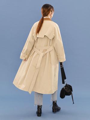 LOVEHEYNEW杏色风衣女秋季领口撞色系带收腰长款过膝休闲外套